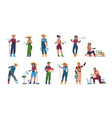 agricultural workers cartoon farmers and vector image vector image