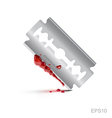 bloody stainless blade on isolate background vector image vector image