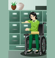 businesswoman in wheelchair working in the office vector image vector image