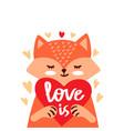 cartoon cute fox with heart vector image vector image