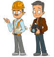 cartoon engineer and photographer characters set vector image vector image