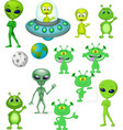cartoon green alien collection set vector image