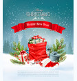 christmas holiday background with a red sack full vector image