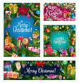 christmas tree wreath decorations and santa gifts vector image vector image