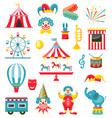 circus and carnival icons isolated on white vector image vector image