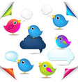 Color Birds Set With Corners And Speech Bubble vector image