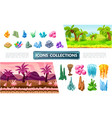 colorful game landscape elements collection vector image vector image