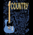 country pickin guitar poster vector image