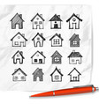 doodle houses on realistic white paper background vector image vector image