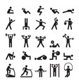 fitness pictograph characters doing exercises vector image
