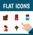 flat icon chocolate set of delicious bitter vector image vector image