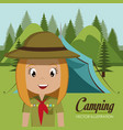 girl scout in the camping zone vector image
