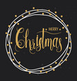 golden merry christmas wreath frame with hand vector image