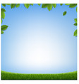 green leaves frame with grass with blue background vector image