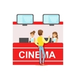 Guy Buying Cinema Tickets Whom Cashiers Counter vector image vector image