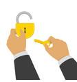 hand opens lock vector image vector image