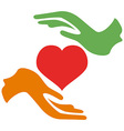 hands hold heart vector image vector image