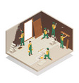 home renovation isometric composition vector image vector image