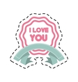 i love you decor ribbon label cut line vector image vector image