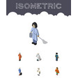 isometric human set of medic officer cleaner and vector image vector image