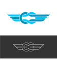 knot style logo with triple wings two color ropes vector image vector image