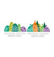 linear city building with green park zone as logo vector image vector image