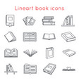lineart book icons symbols logos set template vector image vector image