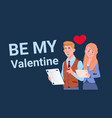 man and woman with digital tablets be my valentine vector image vector image