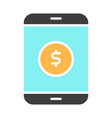 money symbol on smartphone screen icon vector image vector image