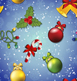 New Year pattern with Christmas tree toy mistletoe vector image vector image