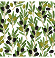 olives seamless pattern olive branches vector image vector image