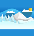 paper snow mountains christmas vector image vector image