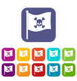 pirate flag icons set flat vector image vector image