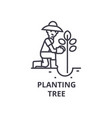 planting tree line icon outline sign linear vector image vector image