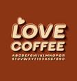 Poster love coffee with decorative font