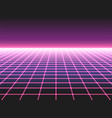 Retro futuristic neon grid background 80s design