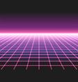 retro futuristic neon grid background 80s design vector image vector image