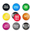 round glossy badges with different vector image vector image