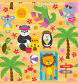 seamless pattern with animals on beach vector image vector image
