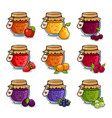 set of colored jars with delicious homemade jam vector image vector image