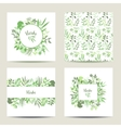 Set of four herbal card templates vector image vector image