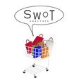 shopping bags in shopping cart with swot analysis vector image vector image