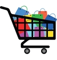 Shopping cart with a lot of colorful bags vector image