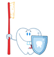 Smiling Tooth With Toothbrush And Shield vector image vector image