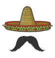 sombrero and mustache sketch engraving vector image