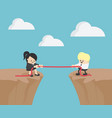 two businessmen competing on a dangerous cliff vector image vector image