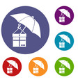 umbrella and a cardboard box icons set vector image vector image