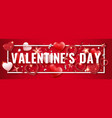 valentines day horizontal banner with shining red vector image vector image