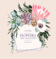 vintage wedding card with flowers and succulents vector image vector image