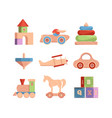 wooden toys vintage funny items for kids cars vector image vector image